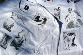 two t-shirts with black and white nude transfers around the neckline