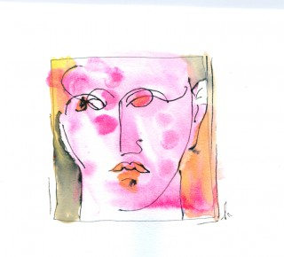 pink lady squiggle painting from Vino Vino by Honoria Starbuck