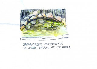 Watercolor sketch Waterlily pond in Zilker Park, Austin by Honoria Starbuck