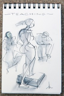 ink sketch of artists and model by Honoria Starbuck 2009