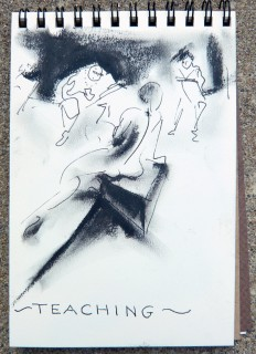 ink and oil pastel drawing of model and students by Honoria Starbuck Summer 2009