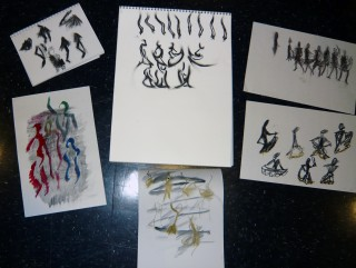 Student drawings of action line in Gesture and Life Drawing Class Summer 2009