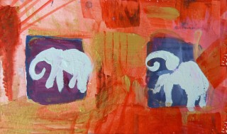 acrylic painting postcard for Ennio Pauluzzi August 2009