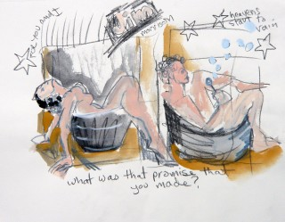 Life Drawing to the Doors at Dr. Sketchy by Honoria Starbuck Model in a bathtub