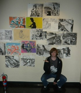 Jeremy D. with drawings from Life Drawing and Gesture Fall 2009 Art Institute of Austin