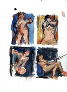 Life Drawings by Honoria Starbuck in charcoal gouache India ink and Pastel - Naked Lunch Austin Dec 2009