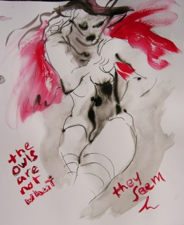 gesture drawing of woman with red wings and the text the owls are not what they seem