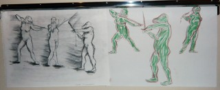 student drawings of model sequence drawing with raptor head and sword JA 2010