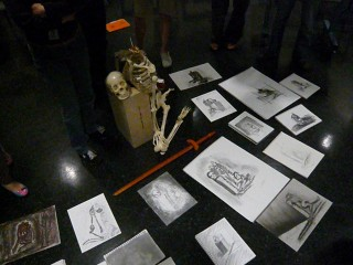 life drawing skeleton with student drawings. Art Institute of Austin, Spring 2010 Semester Instructor Honoria Starbuck