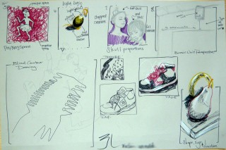 Student work:  Illustration of final exam concepts April 2010 Observational Drawing