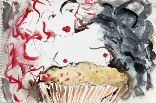Gouache and Ink painting of Many Lauderdale modeling for Dr. Sketchy with a cupcake. Drawing by Honoria Starbuck.