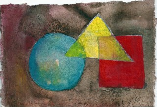 Shapes - postcard in ink, watercolor and gouache by Honoria Starbuck 2010