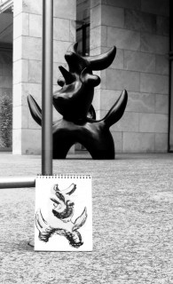 Honoria's drawing of Miro's Moonbird at the Nasher Sculpture Garden. June 2010