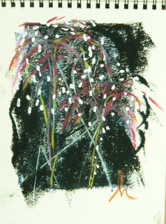 Charcoal, pastel and whiteout gesture drawing of the Fireworks at Auditorium Shores, Austin, TX drawing by Honoria Starbuck