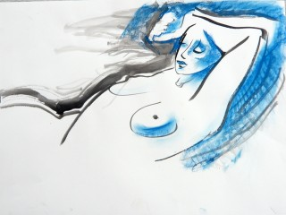Ink and pastel drawing of nude by Honoria Starbuck