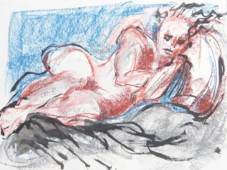Pastel, conte, and Ink drawing of nude model taking a break TAD 11Sp10 Honoria Starbuck