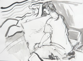Ink life drawing cartoon by Honoria Starbuck 11SP10 TAD open studio