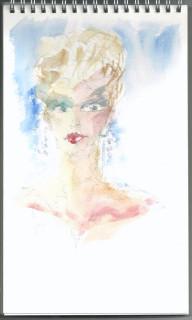 Watercolor fashion head by honoria