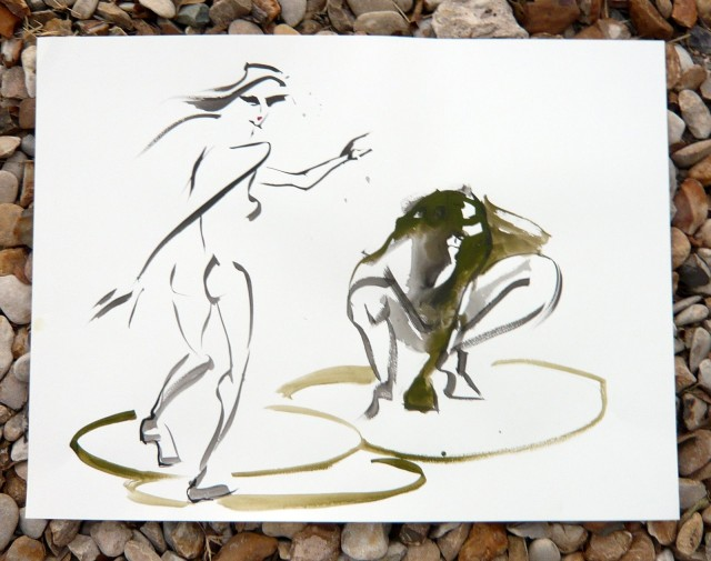 Life drawing in sumi ink and gouach by Honoria Starbuck