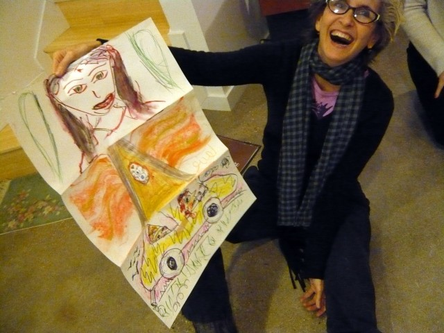 Luanne with exquisite corpse drawing.  December 2010