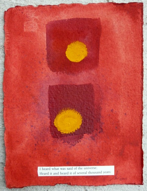 Abstract painting with text from Walt Whitman's Leaves of Grass,  Honoria Starbuck 2011