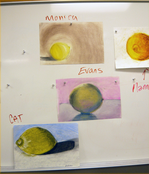 Light Logic on Lemons - Observational Drawing with Honoria Starbuck Art Institute of Austin Winter 2011