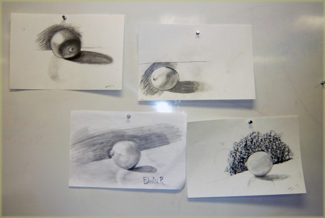 Leomon in Observational Drawing Light Logic class Winter 2011 with instructor Honoria Starbuck