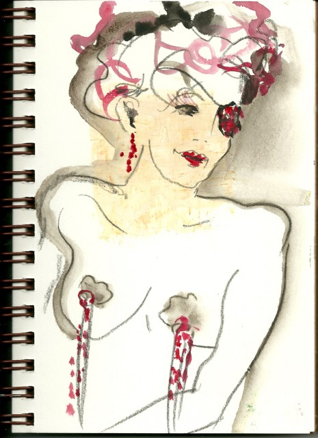 Drawing from Dr. Sketchy Austin March 2011 by Honoria Starbuck