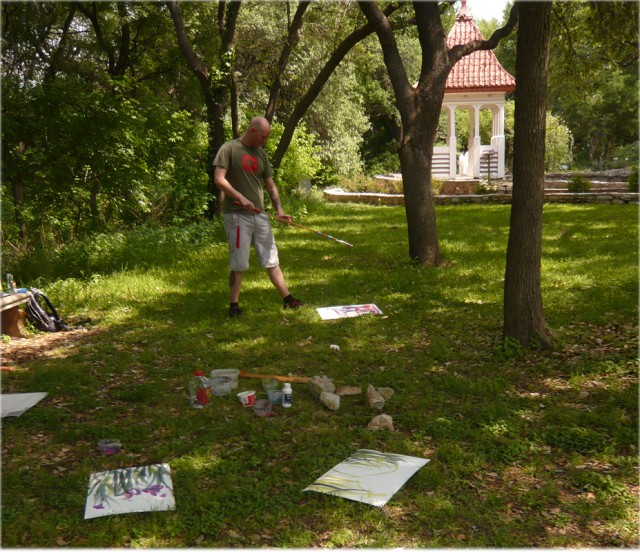 Bret creating a sword painting in Zilker Park, Austin, TX.