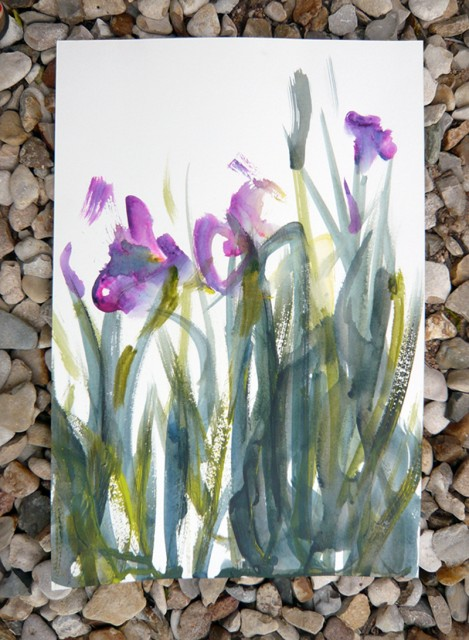Iris painted in acrylic wtih a brush taped to a tai chi sword - Honoria Starbuck April 2011