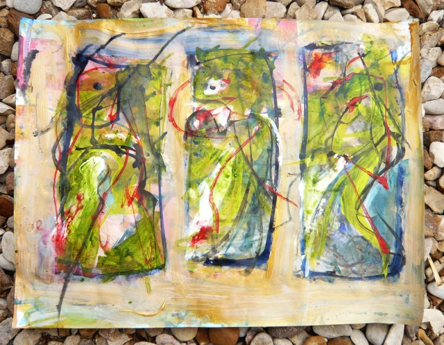 3 asemic figures inspired by Archie Fields at Naked Lunch  in acrylic paint by Honoria Starbuck May 2011