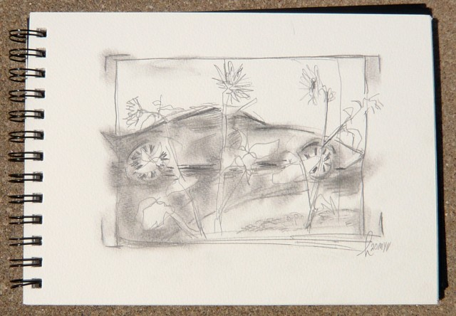 Graphite drawing of a Ford GT with sunflowers by Honoria Starbuck May 2011