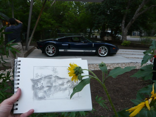 Ford GT in the Driveway with Patrick and my drawing.  May 2011
