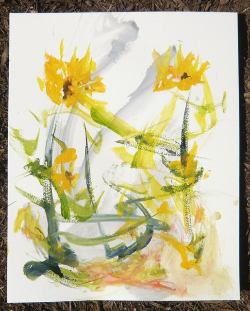 Sunflowers Original Paintingy by Honoria Starbuck