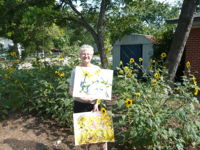 Honoria and her sunflower paintings June 2011