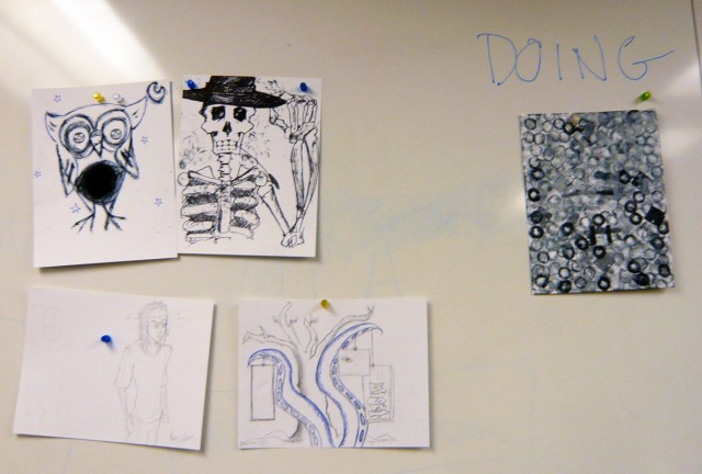 Design Fundamentals Class One illustrations emphasizing doing in the design process.