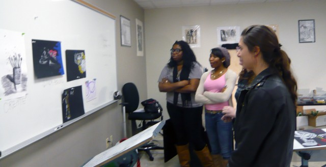 Students in discussion in ART 108 Observational Drawing Fall 2011 Honoria Starbuck Instructor