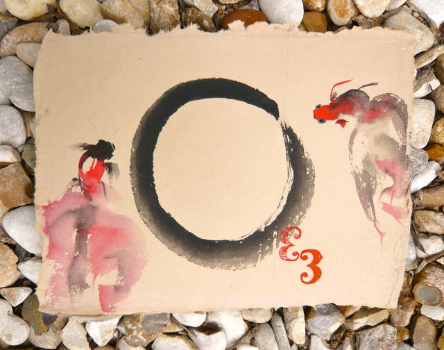Chinese free form fish drawing and zen circle by Honoria Starbuck 2011