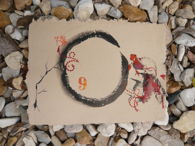 Free form Chinese fish painting wtih Zen circle and rubber stamps by Honoria Starbuck