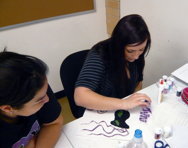 Students working on Mardi Gras Design in Design Fundamentals.  Honoria Starbuck Instructor.