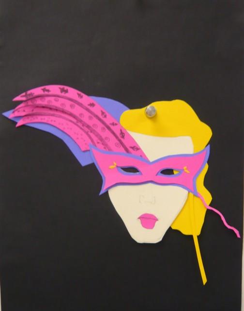 Student half hour collaborative Mardi Gras poster for Design Fundamentals.  Honoria Starbuck Instructor.