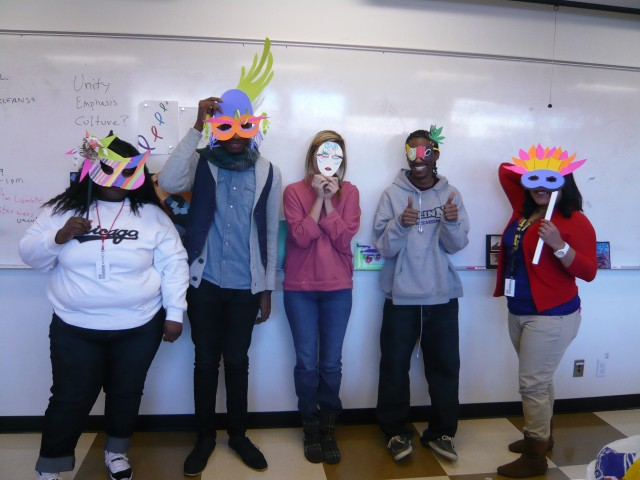 Mardi Gras masks in Design Fundamentals - Honoria Starbuck teaching