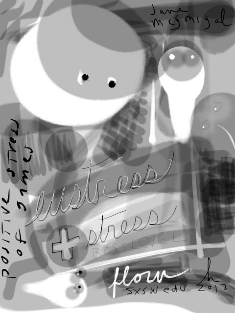 zen brush drawing by honoria starbuck from SXSWedu 2012