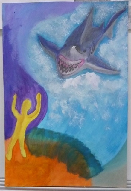Ripley's Shark drawing in pastel and watercolor ART108 Spring 2012 - Honoria Starbuck Instructor