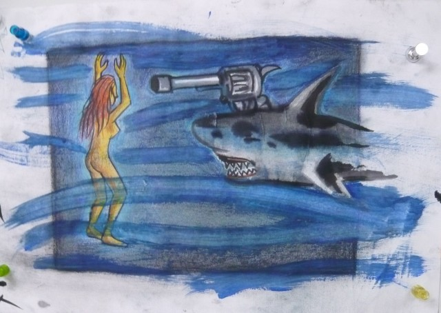 Christian's Shark drawing in pastel, graphite, and watercolor ART108 Spring 2012 - Honoria Starbuck Instructor