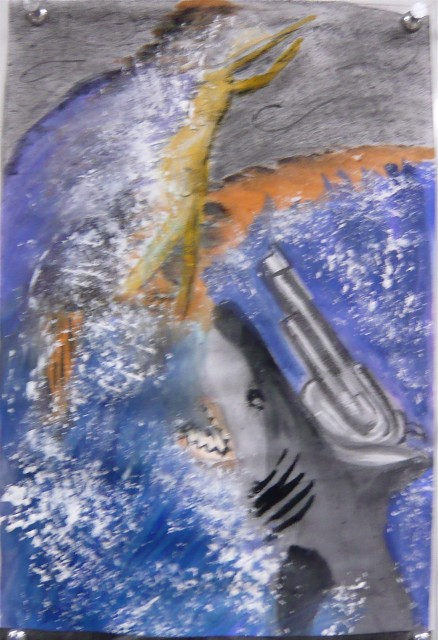 Nemesis' Shark drawing in pastel and watercolor ART108 Spring 2012 - Honoria Starbuck Instructor