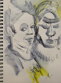 ink wash double portrait