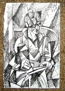 cubist style ink drawing of honoria