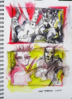 ink and watercolor drawings of a band playing music