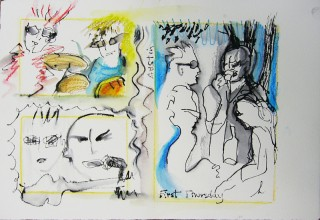 three watercolor and ink drawings of a band